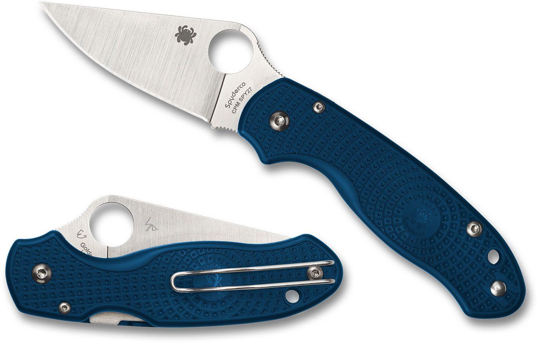Spyderco Para 3 Lightweight Folding Knife 2.92 inch CPM-SPY27 Satin Plain Blade, Cobalt Blue FRN Handles (Paramilitary 3)