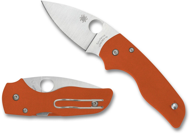 Spyderco Lil' Native Compression Lock Folding Knife 2.42 inch CPM-REX 45 Satin Plain Blade, Burnt Orange G10 Handles, Sprint Run