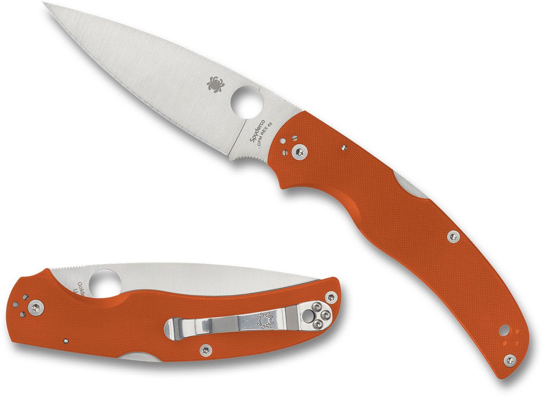 Spyderco Native Chief Folding Knife 4.08 inch CPM-REX 45 Satin Plain Blade, Burnt Orange G10 Handles, Sprint Run