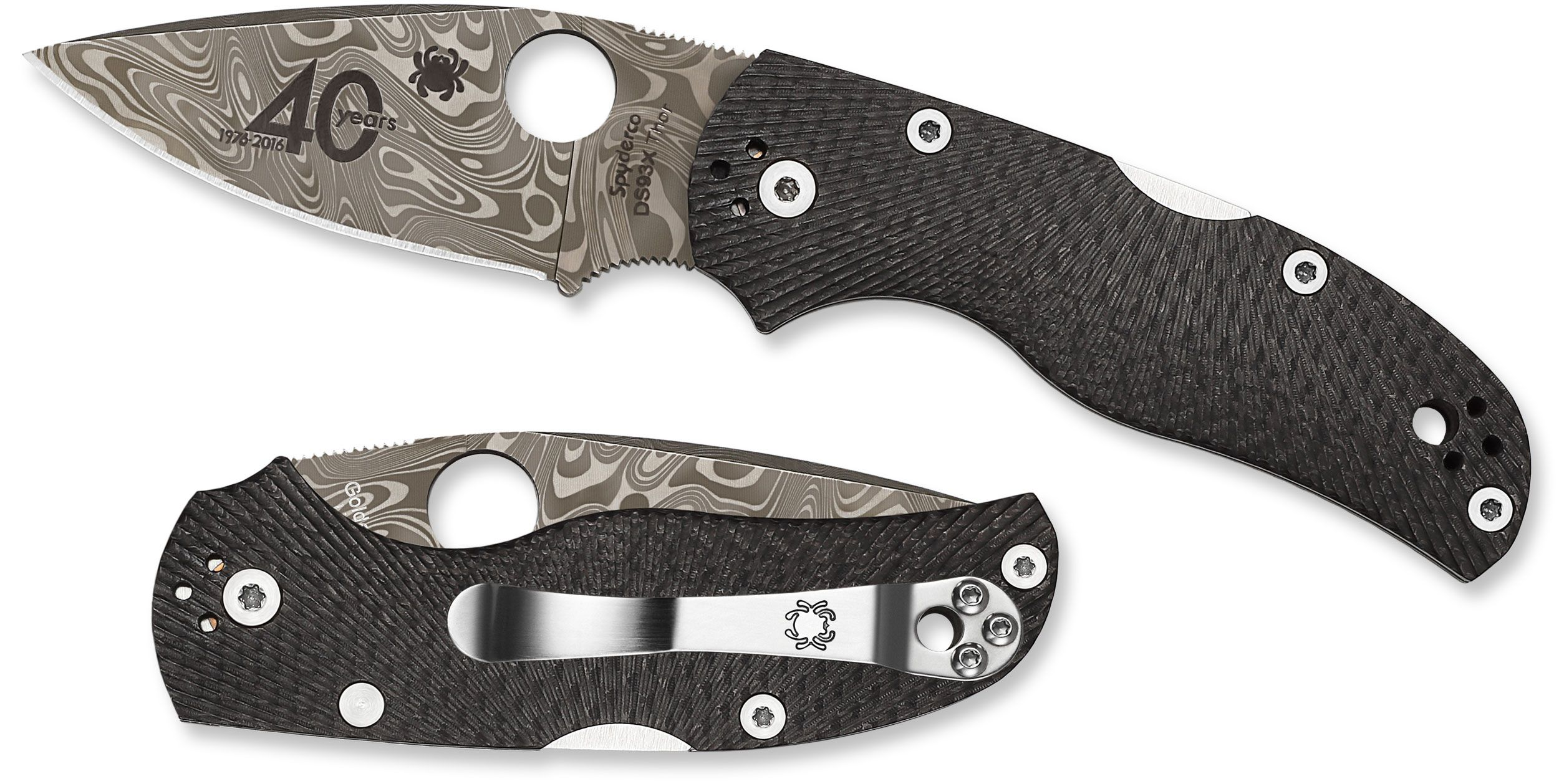 Spyderco C41CF40TH 40th Anniversary Native 5 Folding Knife 2.98 inch Damasteel Blade, Fluted Carbon Fiber Handles, Sprint Run