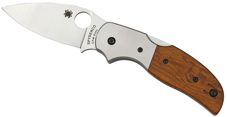 Spyderco C123WDP Sage 4 Folding Knife 3 inch S30V Plain Blade, Arizonian Ironwood Handles, Titanium Bolsters