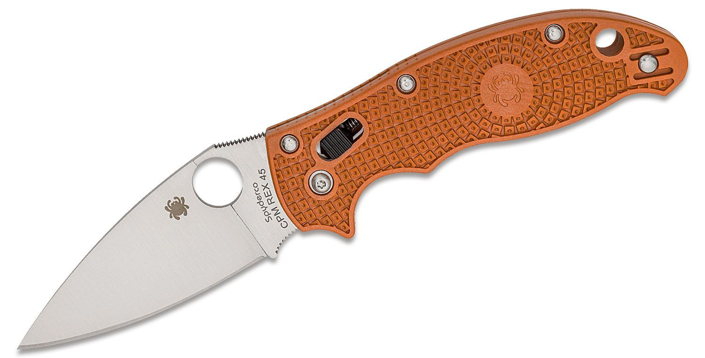 Spyderco Manix 2 Lightweight Folding Knife 3.37 inch CPM-REX 45 Satin Plain Blade, Burnt Orange FRCP Handles, Sprint Run