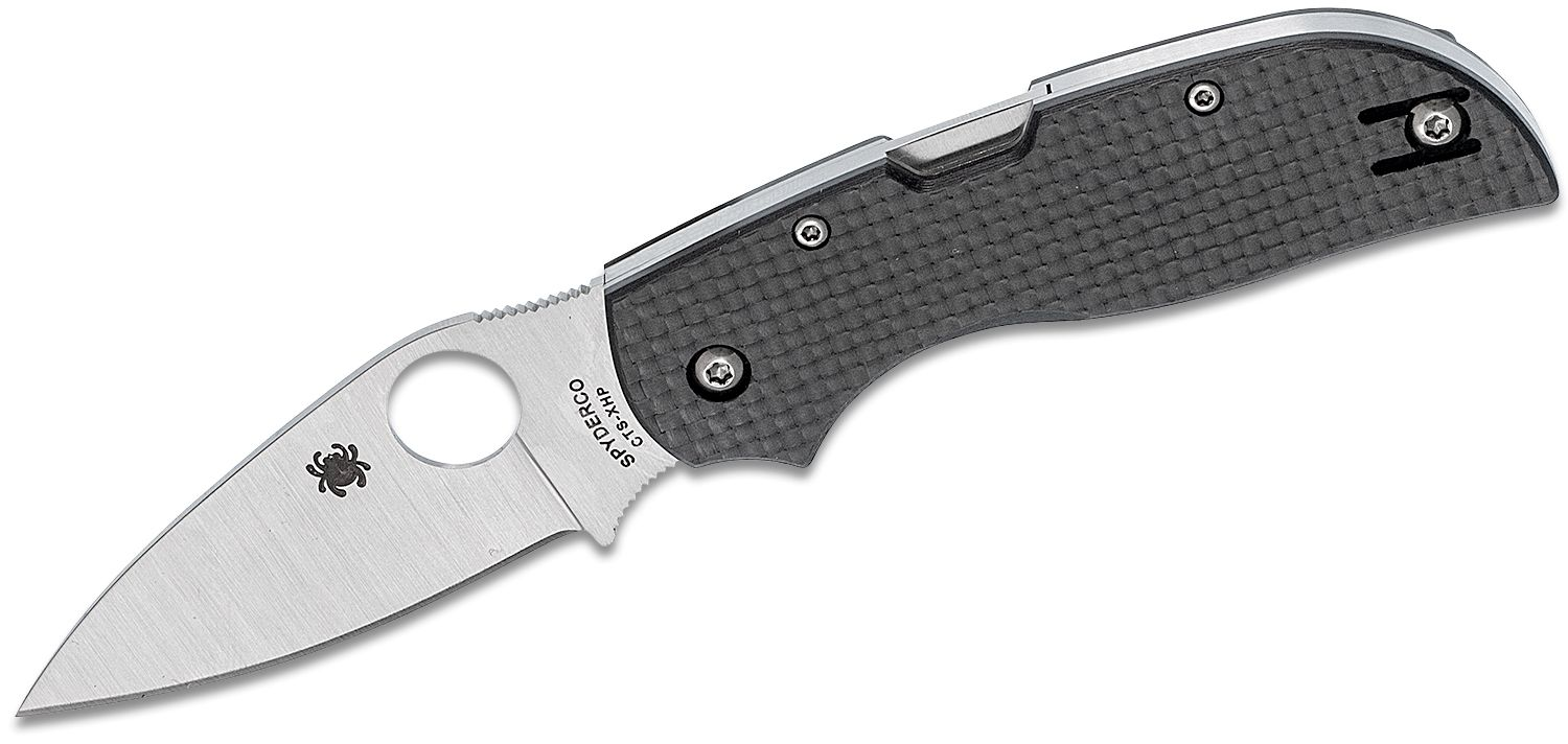 Spyderco Chaparral Folding Knife 2-13/16 inch CTS-XHP Plain Blade, Carbon Fiber Handles