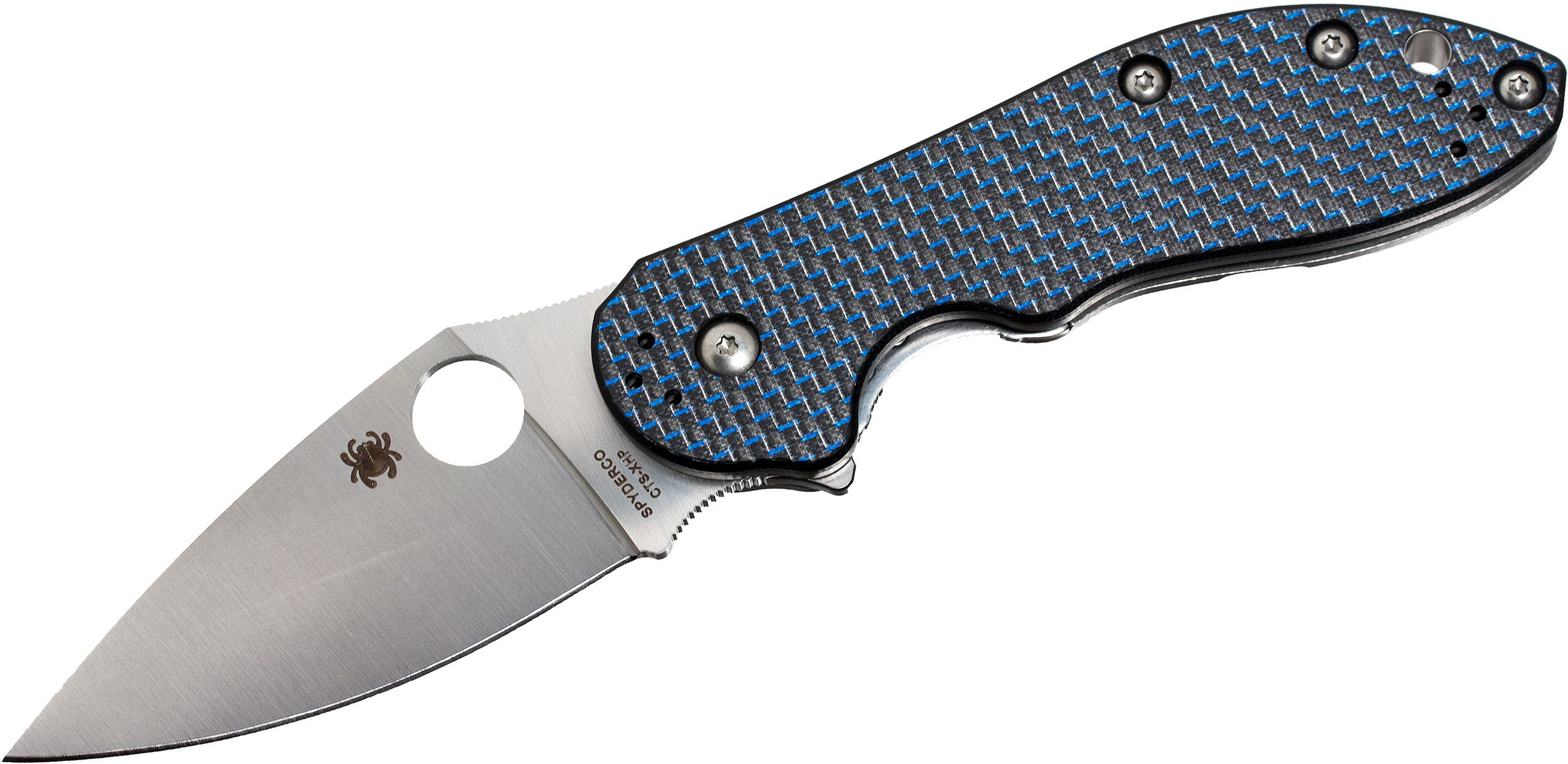 Spyderco Domino Flipper Knife 3.13 inch CTS-XHP Blade, Blue Weave Carbon Fiber and Titanium Handles