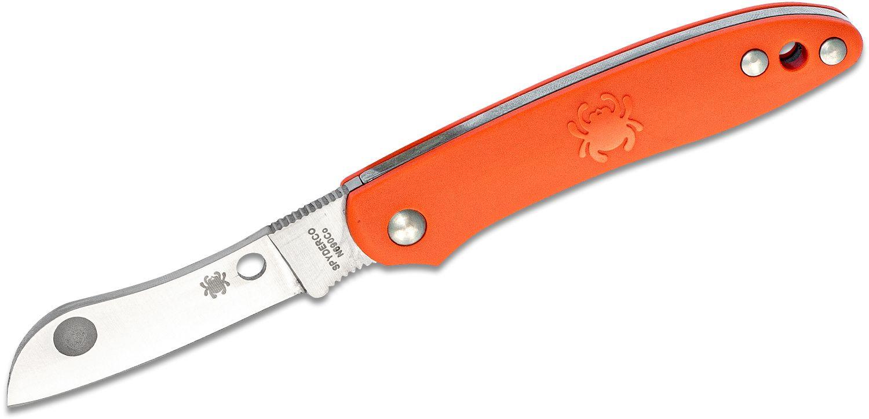 Spyderco Roadie Slipjoint Folder 2.09 inch N690Co Plain Sheepsfoot Blade, Orange FRN Handles