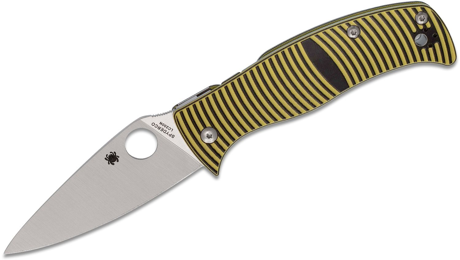 Spyderco Caribbean Folding Knife 3.7 inch Rustproof LC200N Leaf Shaped Plain Blade, 3D Machined G10 Handles
