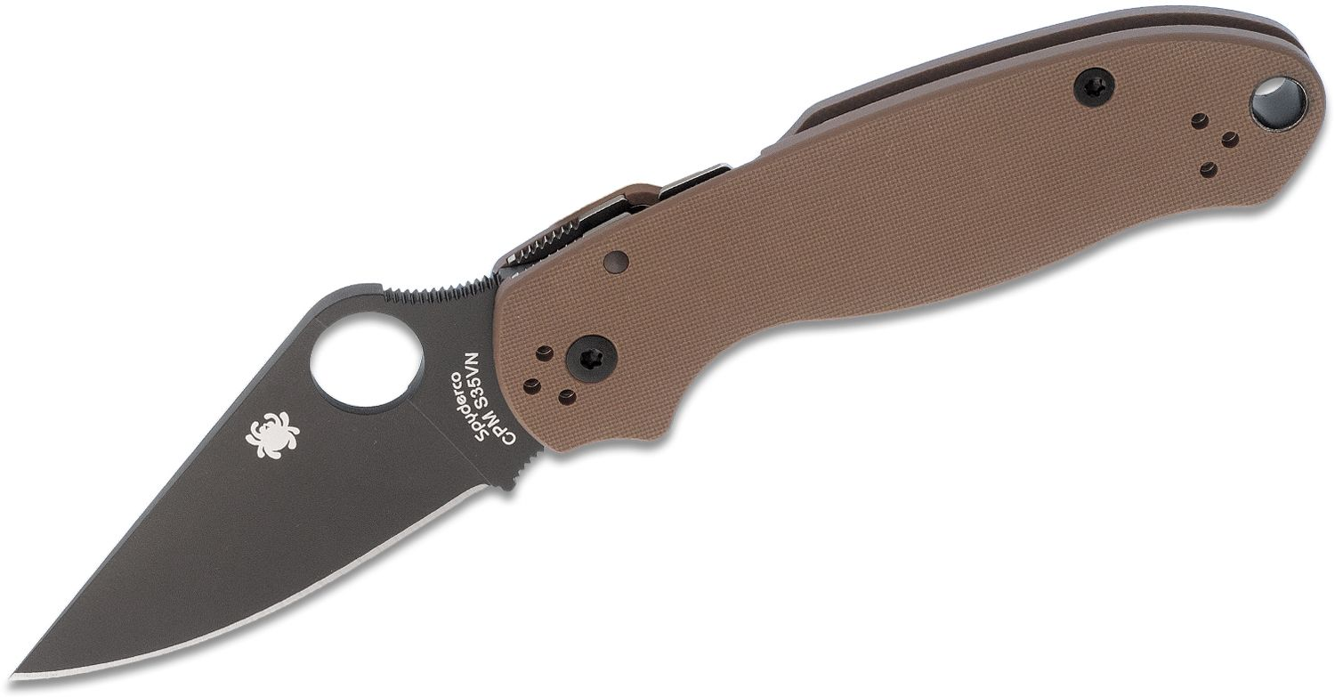 Spyderco Para 3 Folding Knife 3 inch S35VN Black Plain Blade, Earth Brown G10 Handles (Paramilitary 3)