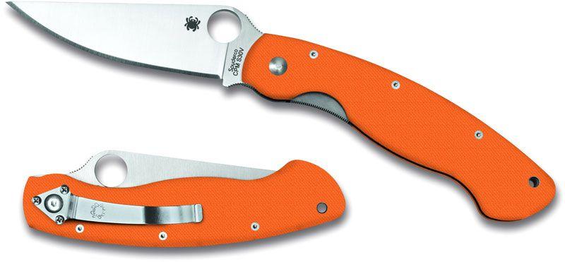 Spyderco Military 4 inch S30V Plain Edge Blade, Orange G10 Handles