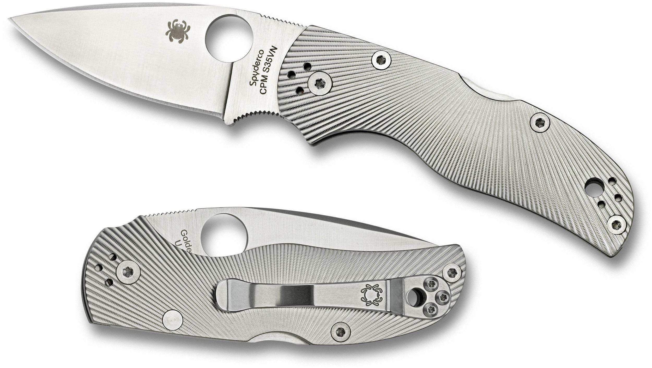 Spyderco C41TIFP Native 5 Folding Knife 3 inch S35VN Satin Plain Blade, Fluted Titanium Handles