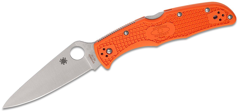Spyderco Endura Flat Ground 3-3/4 inch VG10 Satin Plain Blade, Orange FRN Handles