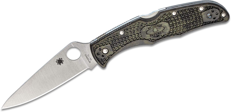 Spyderco Endura Flat Ground 3-3/4 inch VG10 Satin Plain Blade, Zome Green FRN Handles