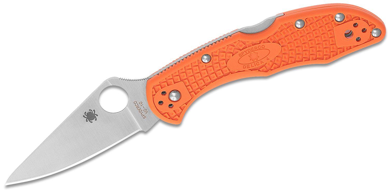 Spyderco Delica 4 Flat Ground 2-7/8 inch VG10 Satin Plain Blade, Orange FRN Handles