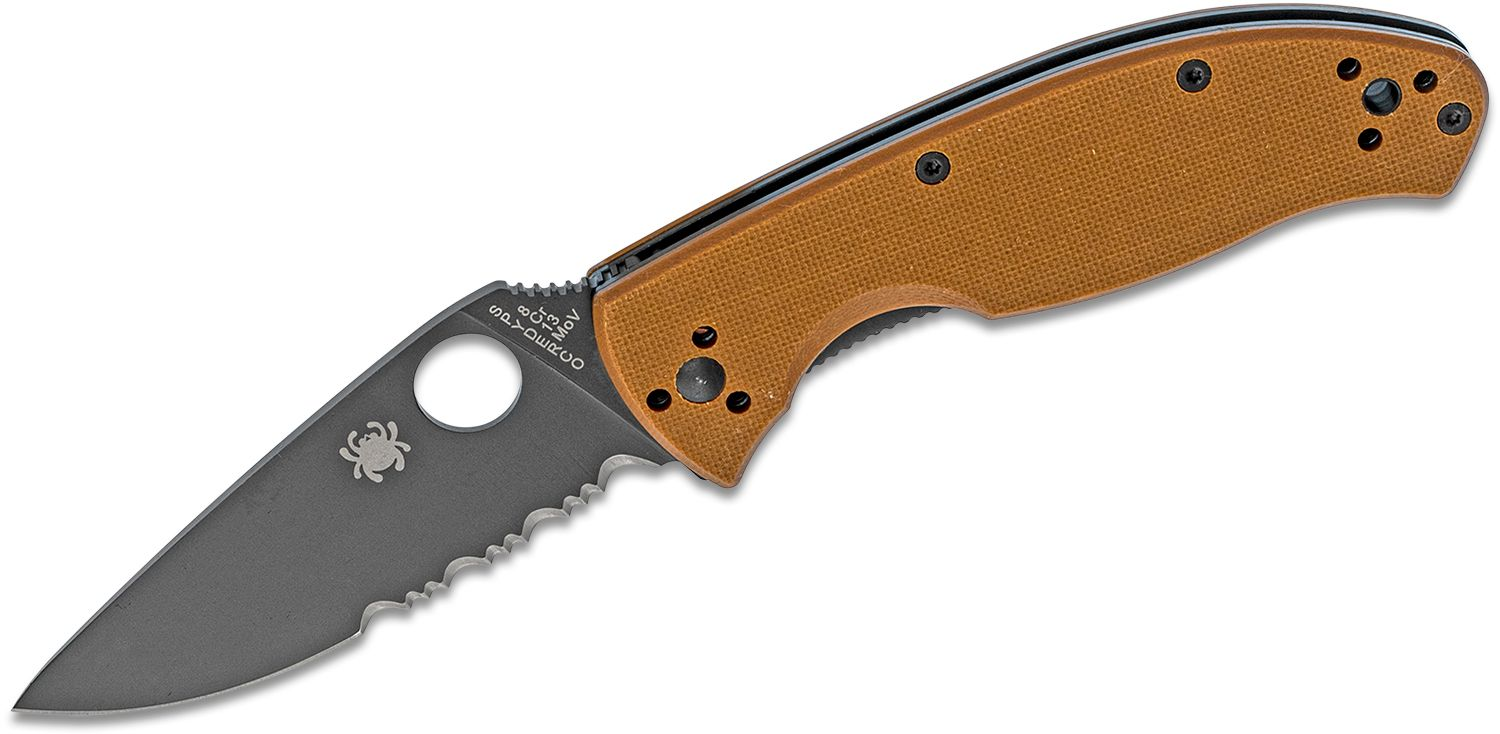 Spyderco Tenacious Folding Knife 3.39 inch Black Combo Blade, Brown G10 Handles