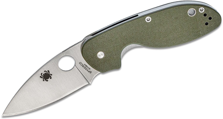 Spyderco Efficient Folding Knife 3 inch Satin Plain Blade, Foliage Green G10 Handles