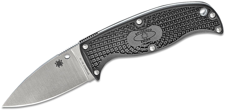Spyderco Enuff Leaf Fixed 2.75 inch VG10 Plain Blade, Black FRN Handles