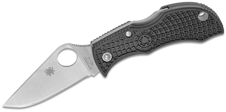 Spyderco Manbug Lightweight Folding Knife 1-7/8 inch VG10 Plain Blade, Black FRN Handles