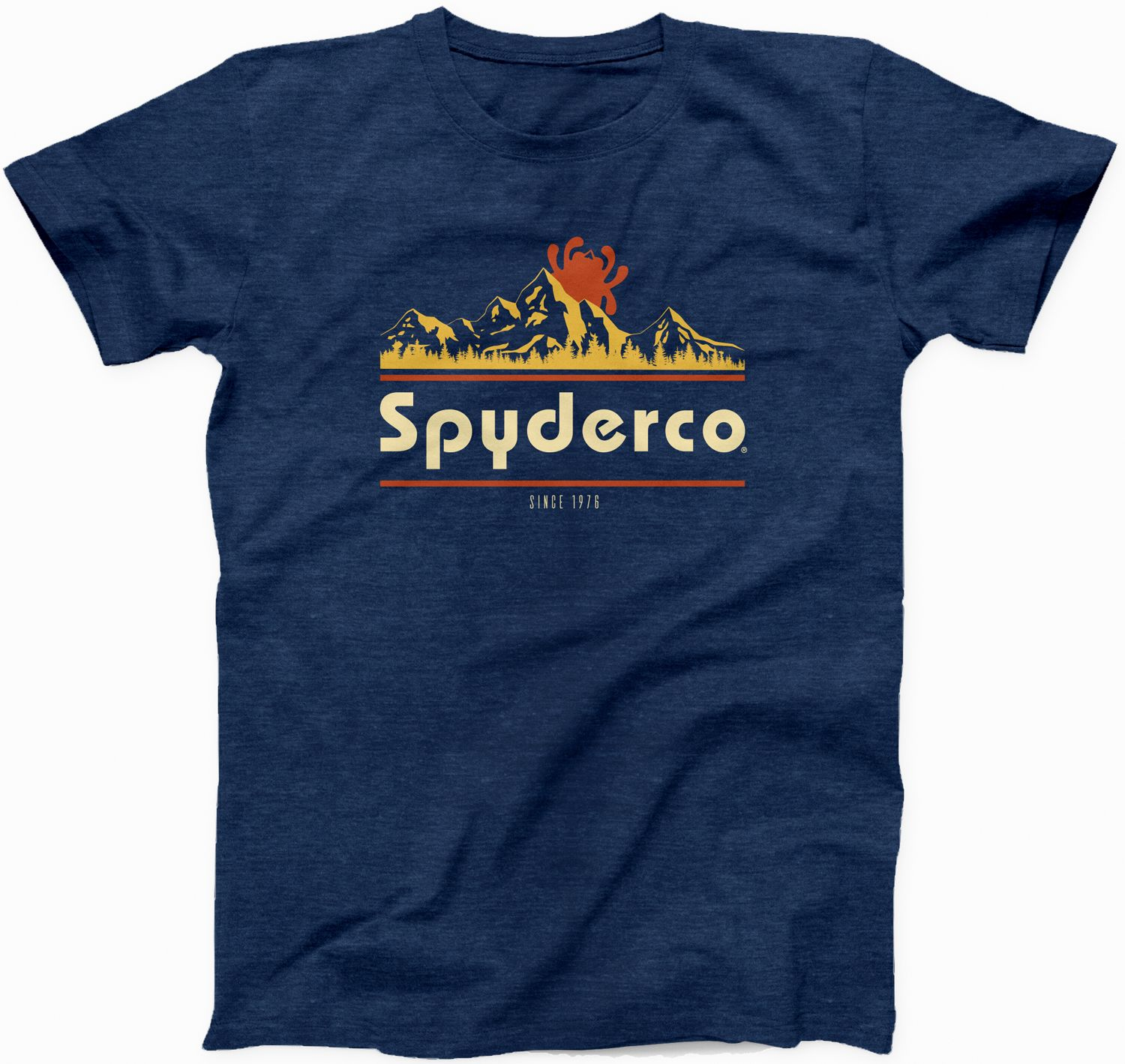 Spyderco Mountain Unisex T-Shirt, Heather Navy, XXXL