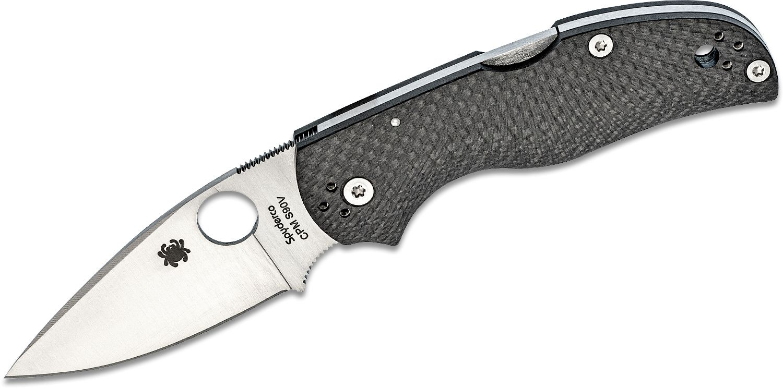 Spyderco Native 5 Folding Knife 2.95 inch S90V Satin Plain Blade, Fluted Carbon Fiber Handles