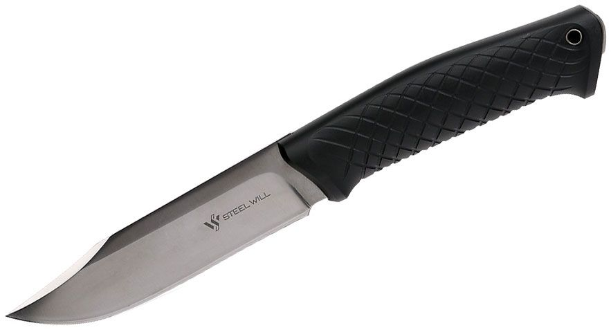 Steel Will Druid 210 Fixed 5-1/2 inch Satin Clip Point Blade, Black TPE Handles, Leather Sheath