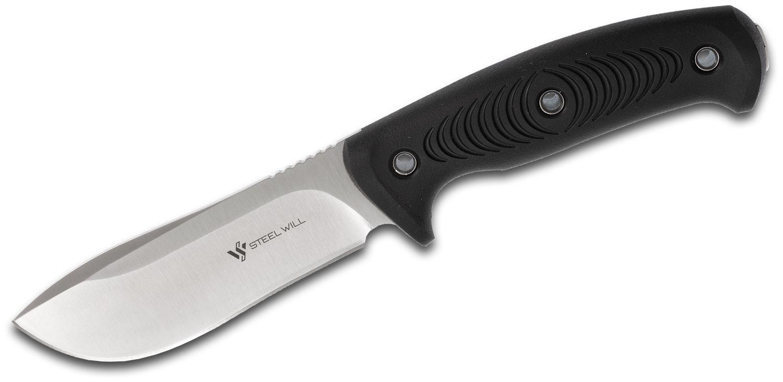 Steel Will Roamer R345-1BK Fixed Blade Knife 4.5 inch Satin Drop Point, Black TPE Handles, Leather Sheath