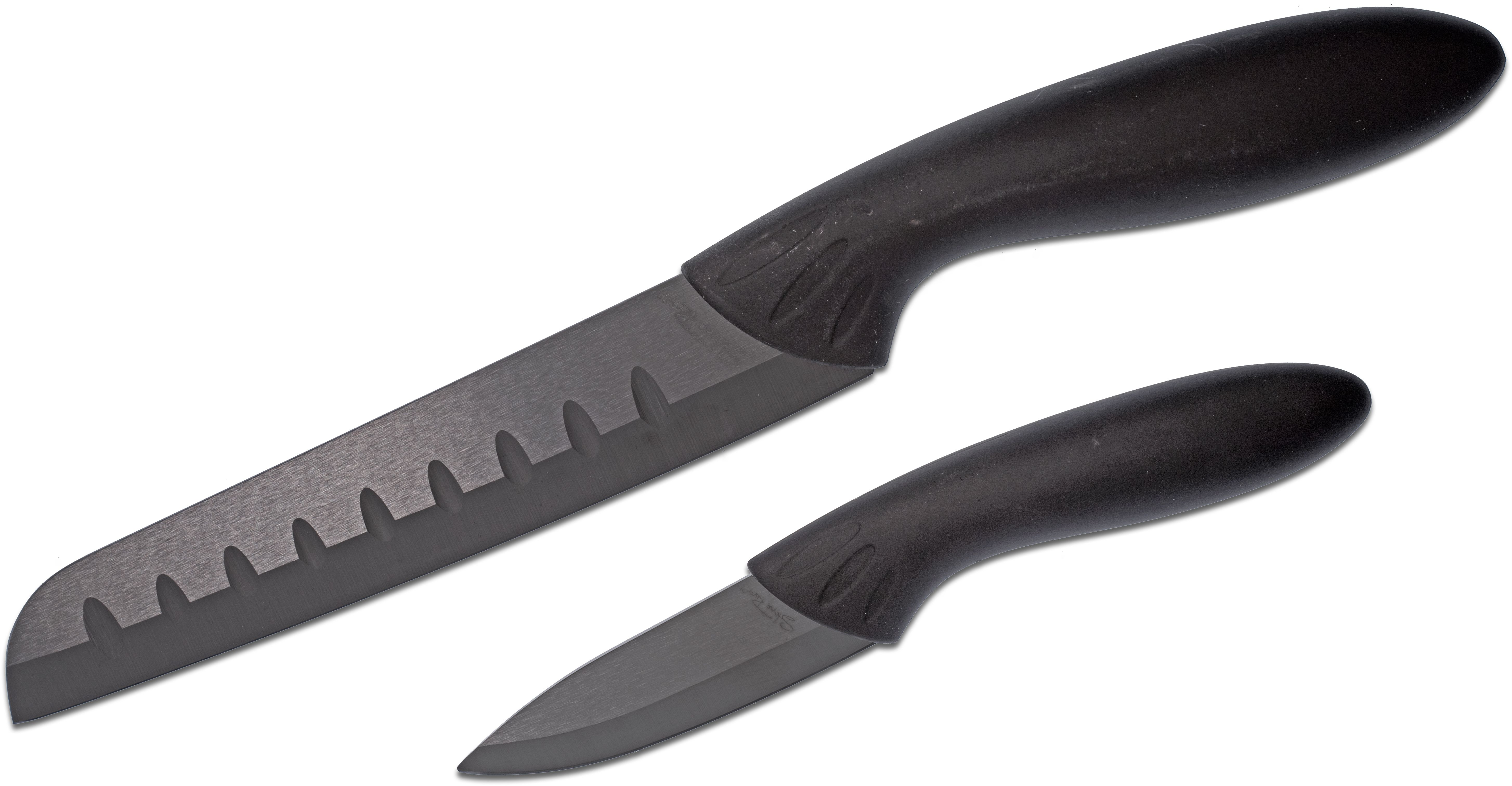 Stone River Gear Two Piece Black Ceramic Santoku/Paring Knife Set, Black Handles