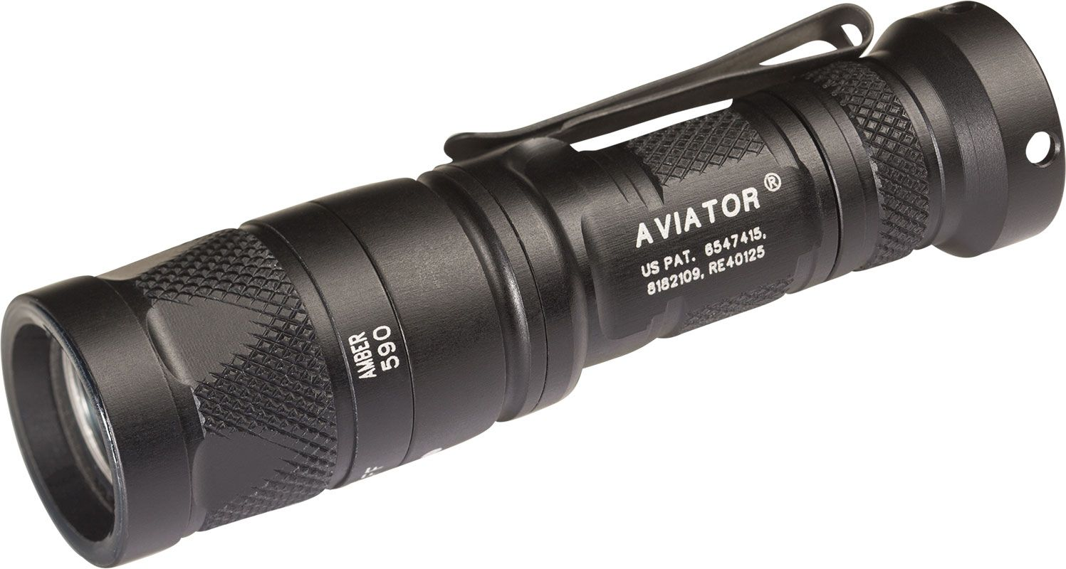 SureFire A2 LED Aviator Dual-Output Dual Spectrum LED Flashlight, Secondary Yellow-Green LED, 250 Max Lumens