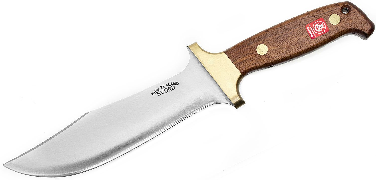 Svord 280H Hunter Fixed 7 inch Carbon Steel Blade, Brown Hardwood Handles, Leather Sheath