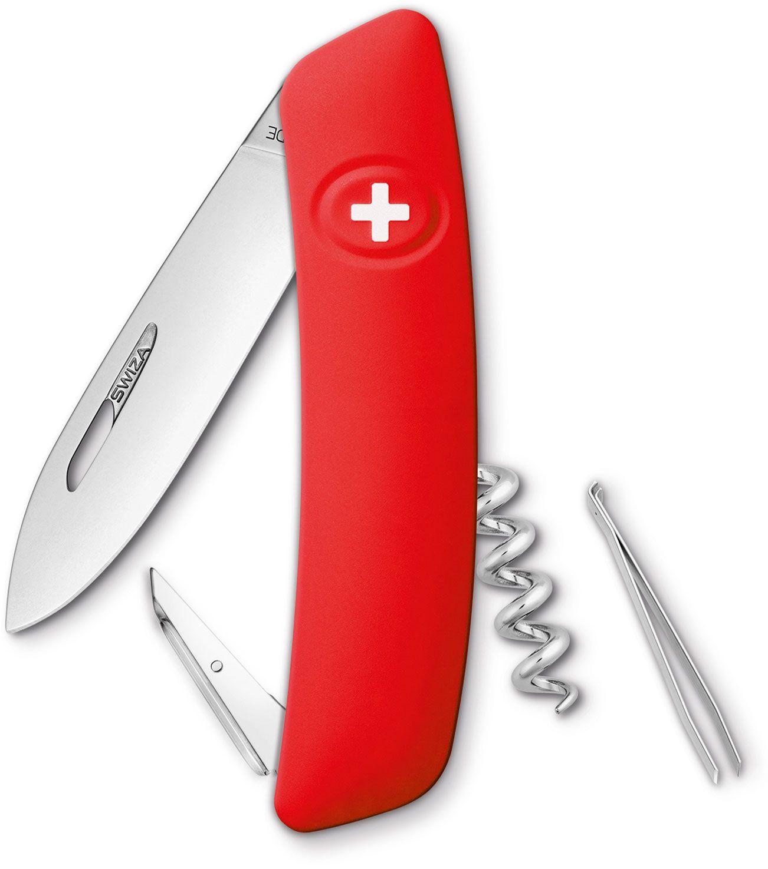 SWIZA D01 Swiss Pocket Knife Multi-Tool, Red, 2.95 inch Plain Blade