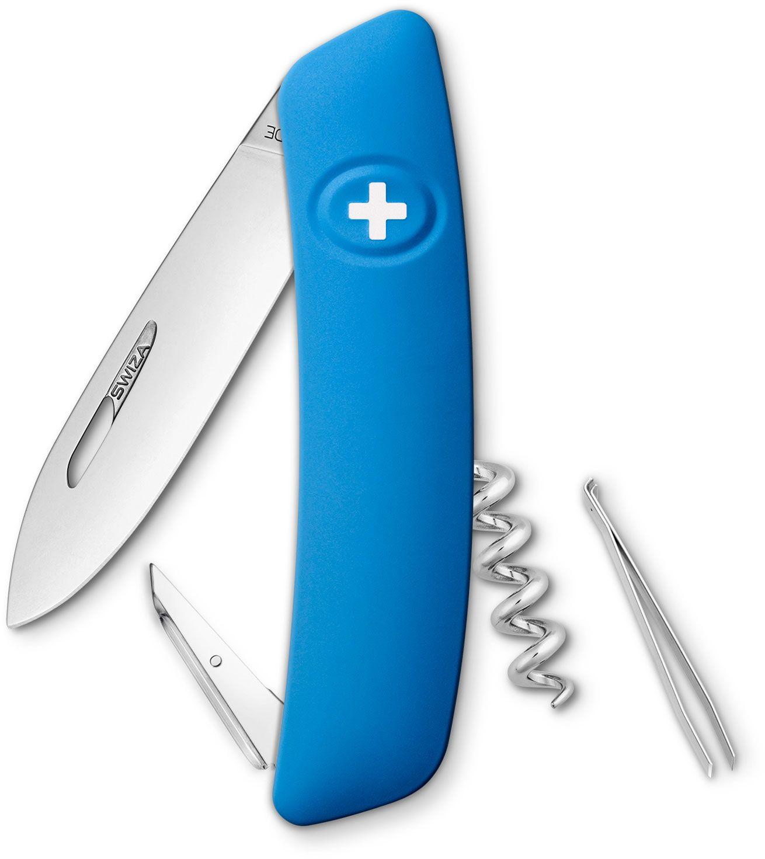 SWIZA D01 Swiss Pocket Knife Multi-Tool, Blue, 2.95 inch Plain Blade
