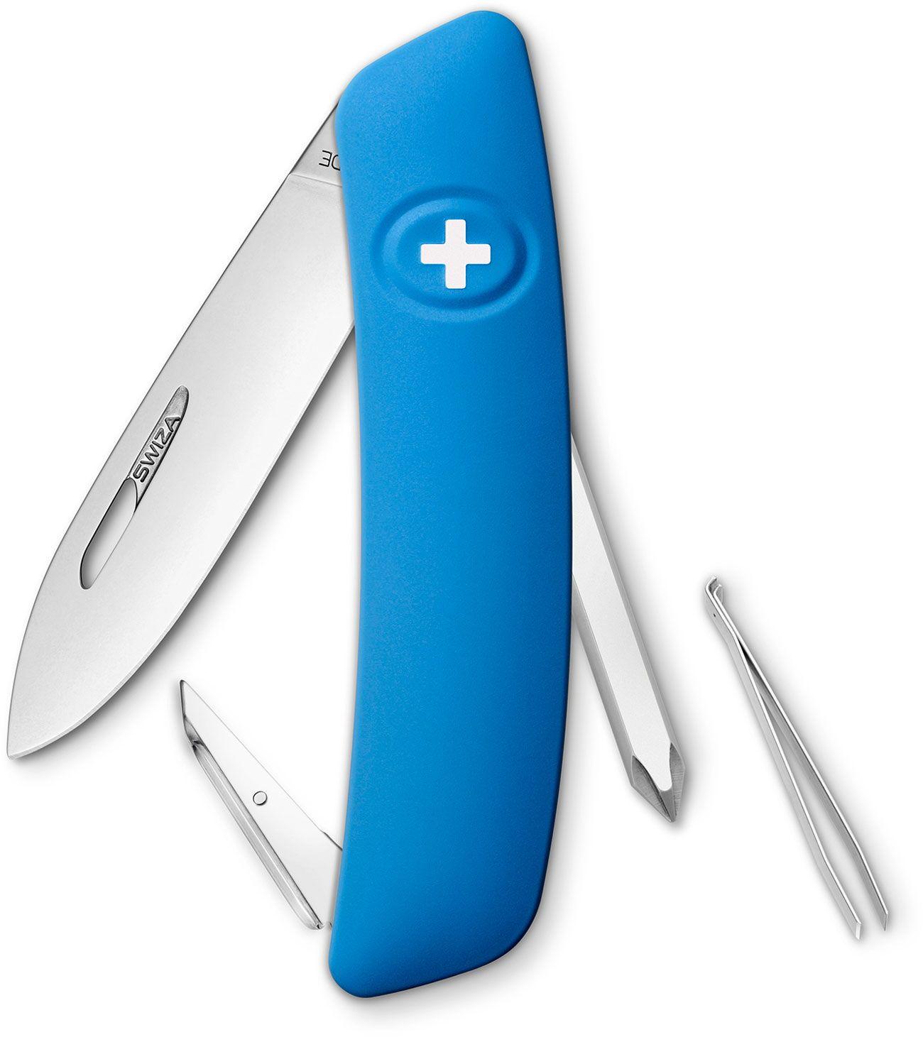 SWIZA D02 Swiss Pocket Knife Multi-Tool, Blue, 2.95 inch Plain Blade