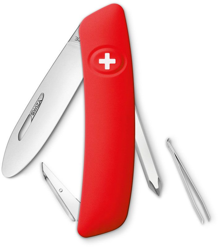 SWIZA J02 Junior Swiss Pocket Knife Multi-Tool, Red, 2.75 inch Plain Blade