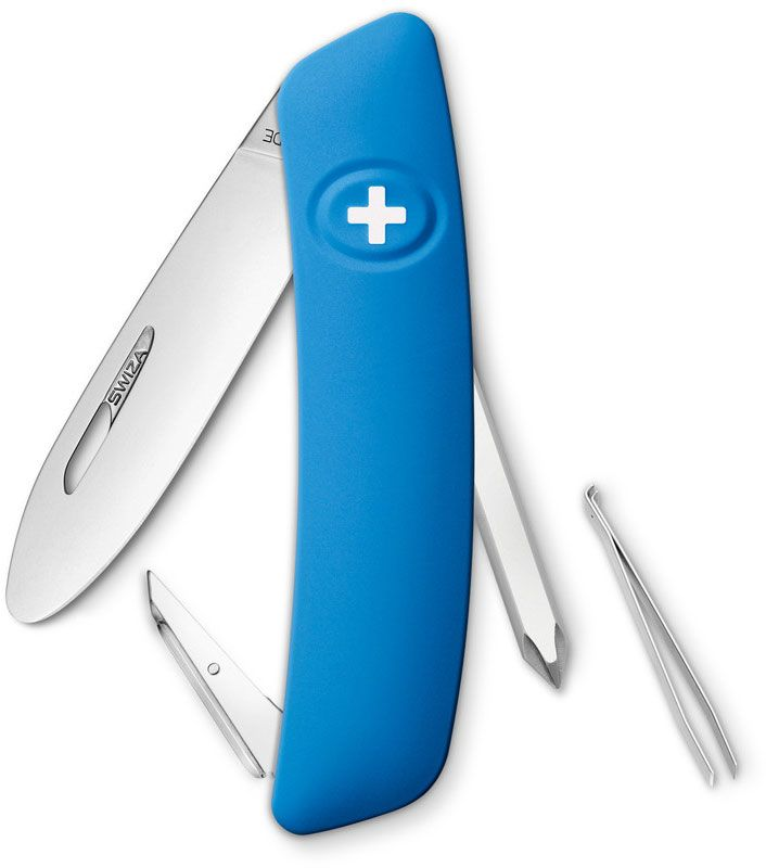 SWIZA J02 Junior Swiss Pocket Knife Multi-Tool, Blue, 2.75 inch Plain Blade