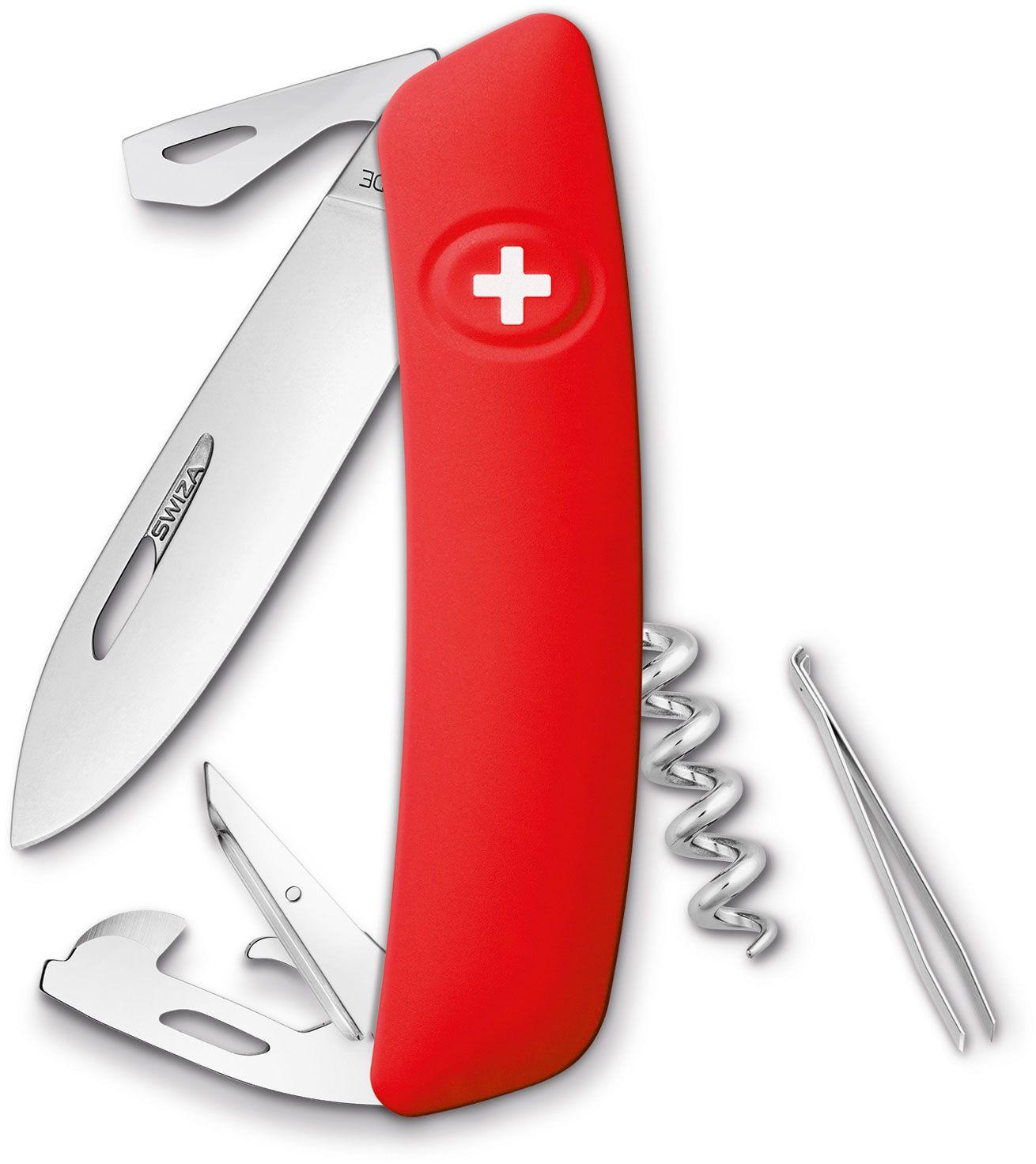 SWIZA D03 Swiss Pocket Knife Multi-Tool, Red, 2.95 inch Plain Blade