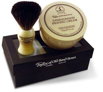 Taylor of Old Bond Street Super Badger Brush & Sandalwood Bowl Gift Box Shave Set