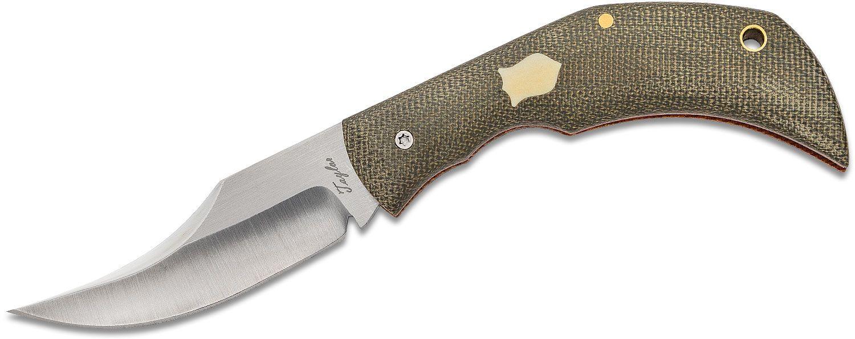 Chris Taylor Custom Slipjoint Folding Knife 2.875 inch 80CrV2 Hollow Ground Blade, OD Green Canvas Micarta Handles