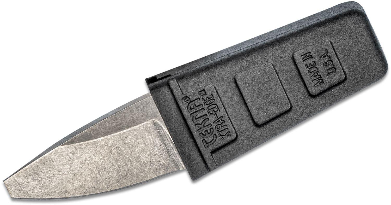 TEKNA Knives XTRA EDGE Fixed Watersports Keyring Knife 1.25 inch Blunt Tip Blade, Black TEKNALON CFTRP Handle and Sheath