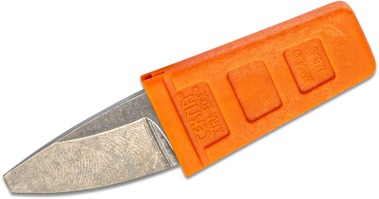 TEKNA Knives XTRA EDGE Fixed Watersports Keyring Knife 1.25 inch Blunt Tip Blade, Orange TEKNALON CFTRP Handle and Sheath