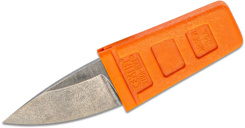 TEKNA Knives XTRA EDGE Fixed Watersports Keyring Knife 1.45 inch Drop Point Blade, Orange TEKNALON CFTRP Handle and Sheath