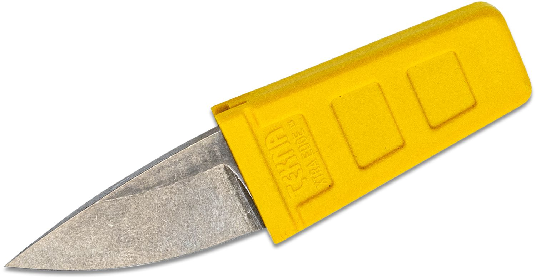 TEKNA Knives XTRA EDGE Fixed Watersports Keyring Knife 1.45 inch Drop Point Blade, Yellow TEKNALON CFTRP Handle and Sheath