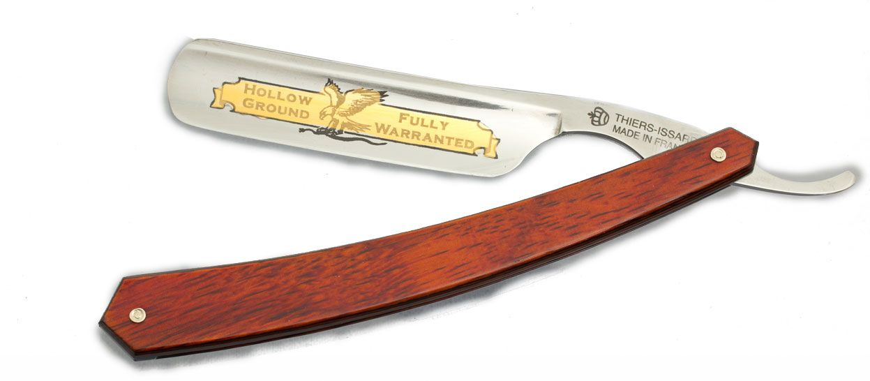 Thiers-Issard Eagle Brand Straight Razor 7/8 inch Blade Red Staminawood Handle France