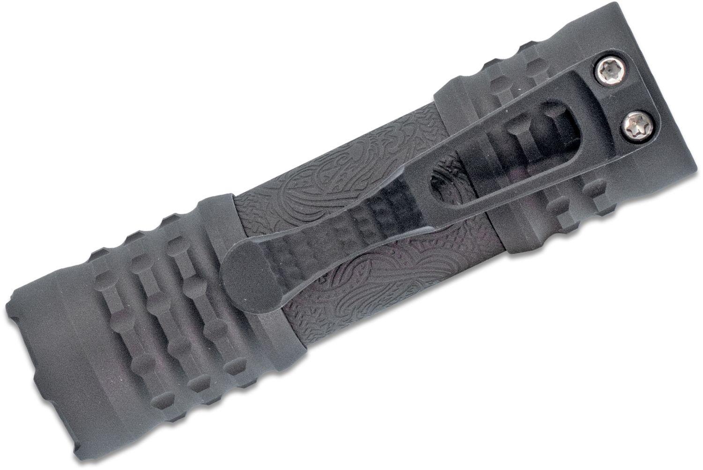 CWF Custom Flashlights/Ti2 Design Custom Viking Engraved Pele Flashlight, Black TRD Titanium