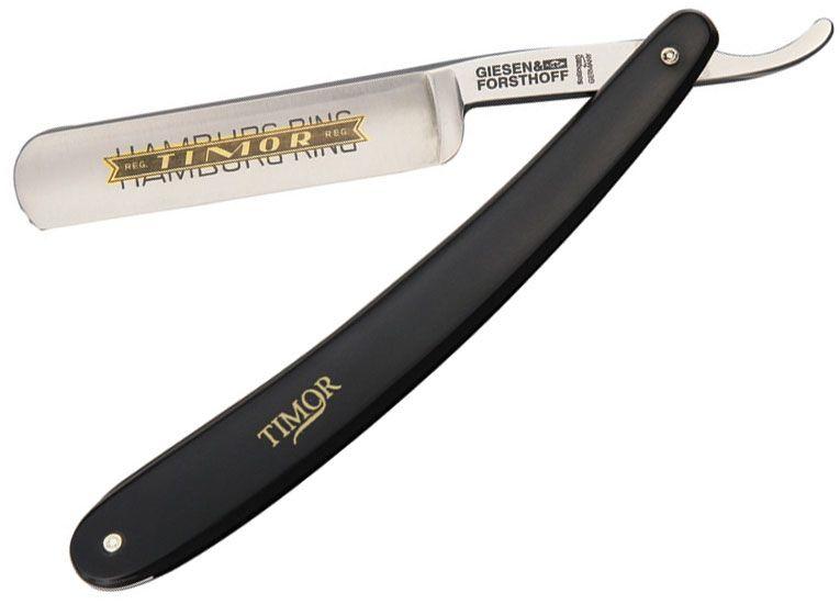 Timor Hamburg Ring Straight Razor, 5/8 inch Carbon Steel Blade, Black Plastic Handles