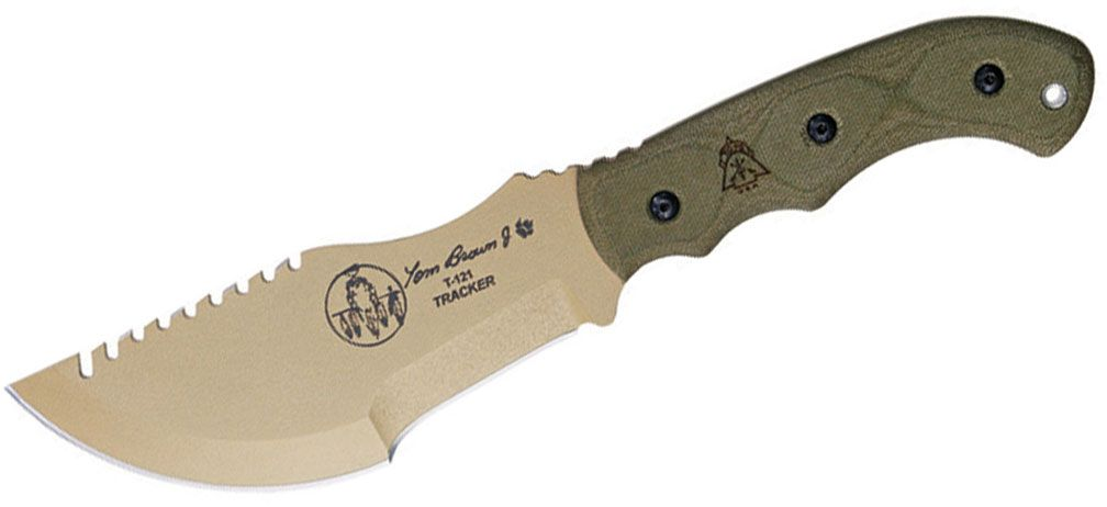 TOPS Knives Tom Brown Tracker Fixed 5.5 inch Coyote Tan Blade, Green Canvas Micarta Handles