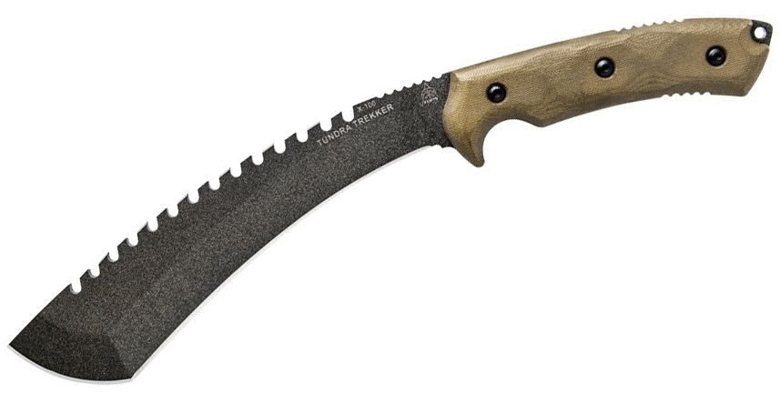 TOPS Knives Tundra Trekker Fixed Blade Knife 9 inch Sawback Kukri, Green Canvas Micarta Handles, Kydex Sheath