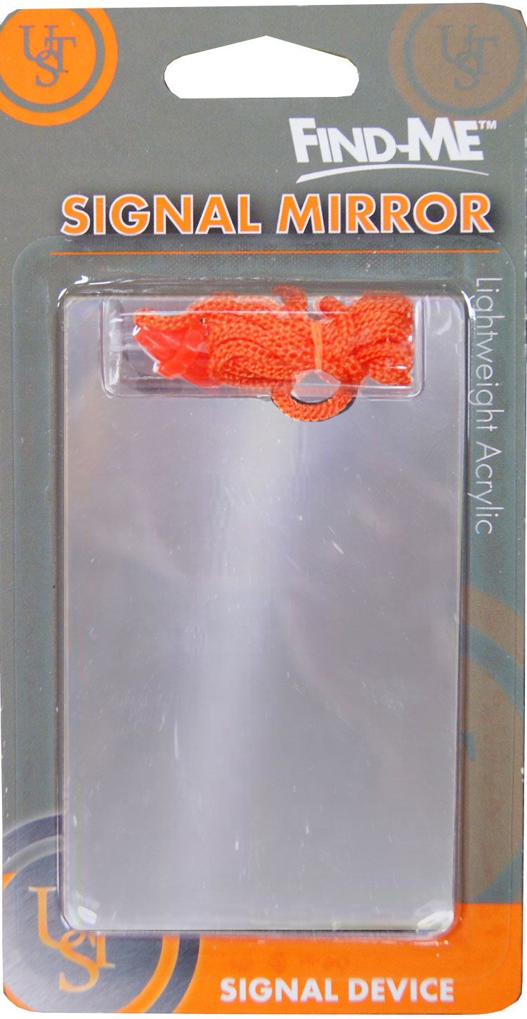 UST Ultimate Survival Find-Me Signal Mirror with Orange Lanyard