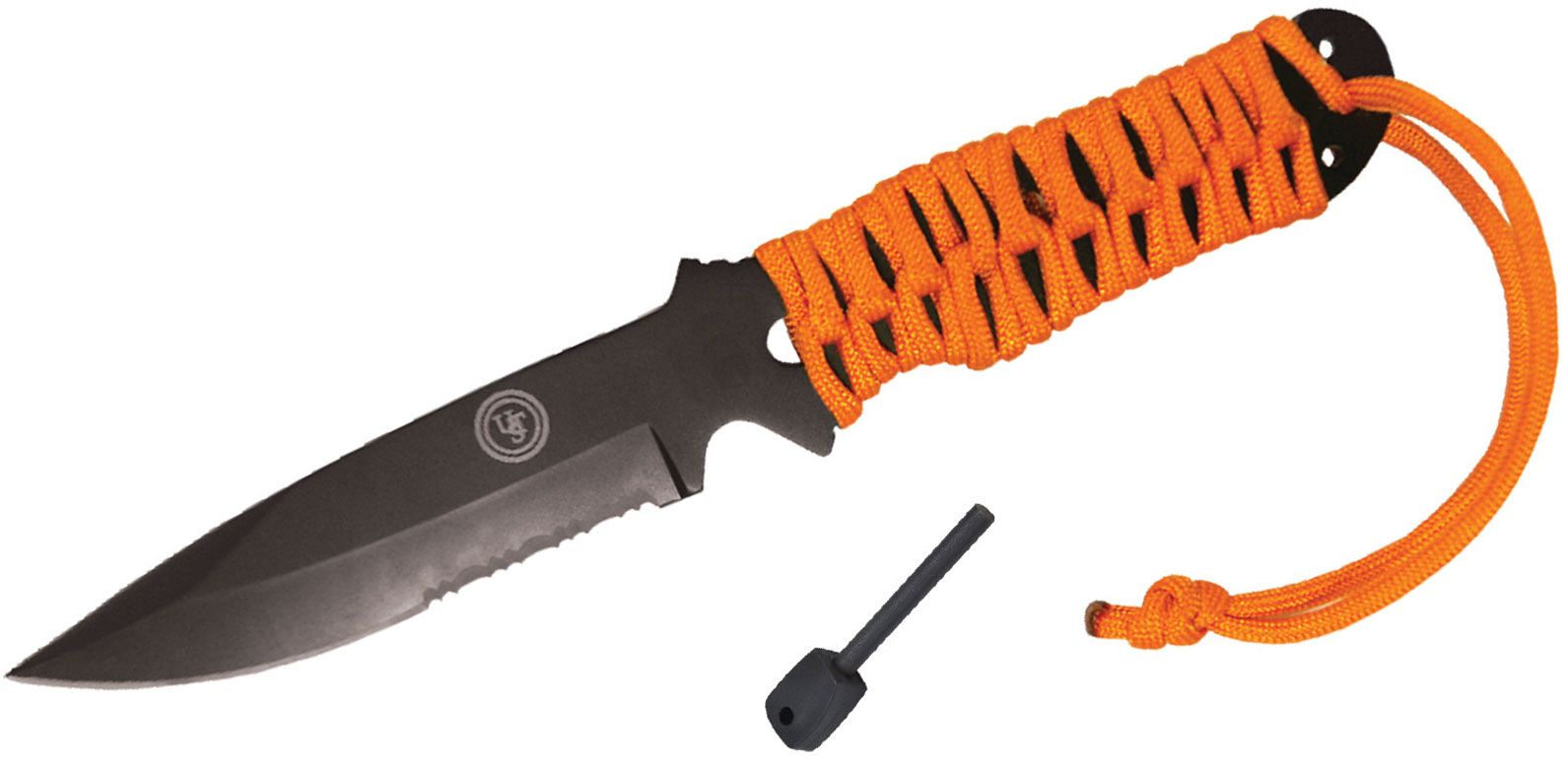 UST Ultimate Survival ParaKnife FS 4.0 Fixed 4 inch Black Combo Blade, Fire Starter, Orange Paracord Wrapped Handle, Black Nylon Sheath