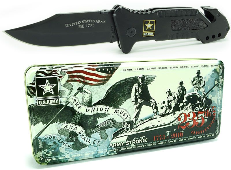 U.S. Army Folding Knife Collector Tin 3.8 inch Plain Blade, Titanium Coated Stainless Steel Handles