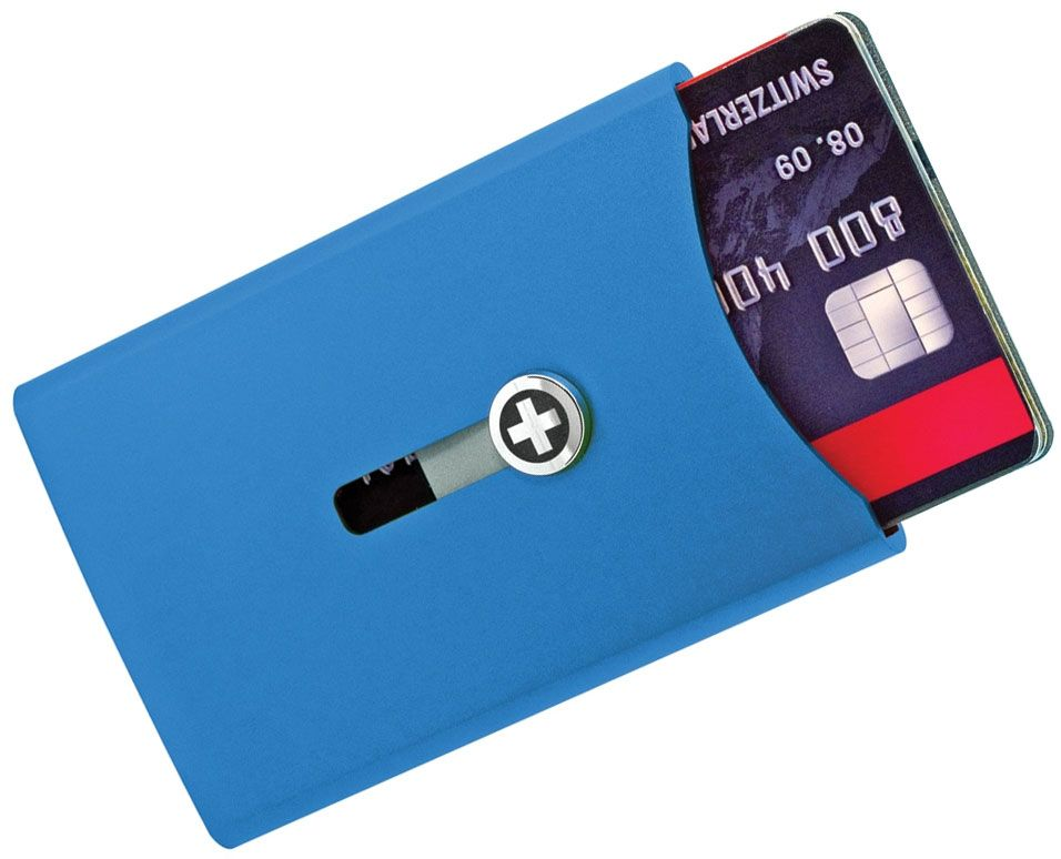 Wagner Super Slim Swiss Wallet with Money Clip, Blue Anodized Aluminum