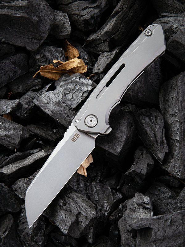 We Knife Company 2003A Snecx Mini Buster Flipper Knife 3.43 inch 20CV Bead Blasted Sheepsfoot Blade, Gray Milled Titanium Handles
