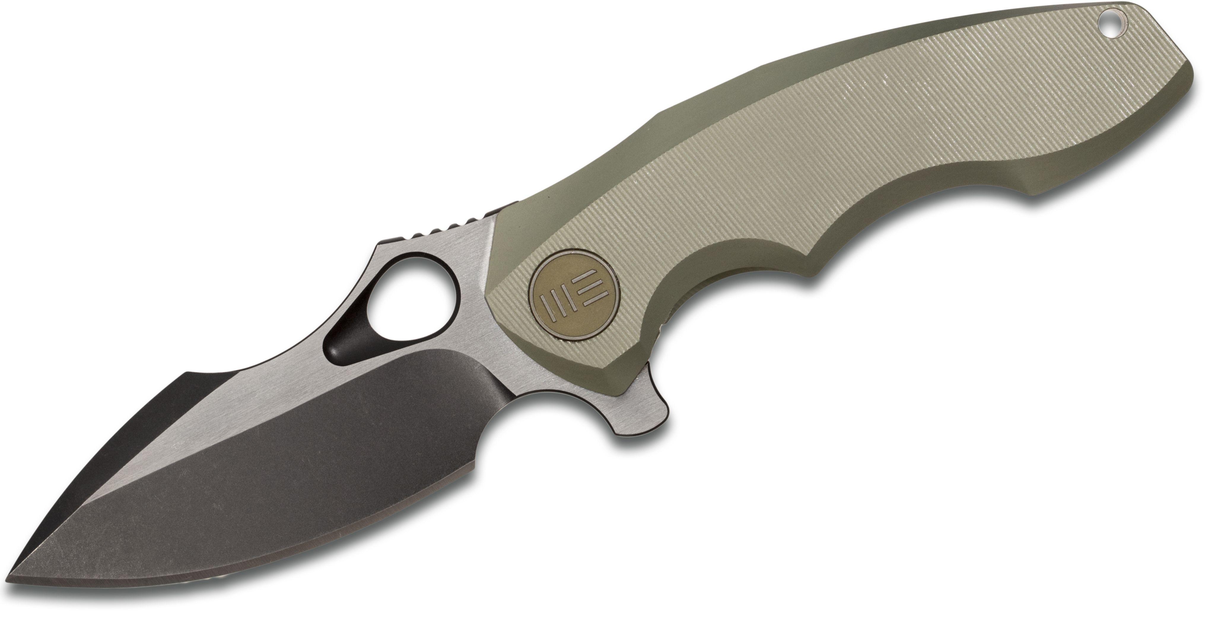 We Knife Company 605D Flipper 3 inch S35VN Black Two-Tone Blade, Green Titanium Handles